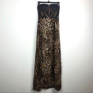 Windsor Leopard Print Strapless Maxi Dress Black